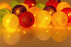 Bright Christmas garland spheres from threads Royalty Free Stock Photography