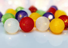Bright Christmas garland spheres from threads Royalty Free Stock Image