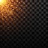 Bright Christmas golden light. Abstract orange lights and rays of light. Gold sand. Festive background. Glare bokeh Stock Image