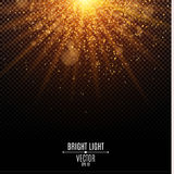 Bright Christmas golden light. Flash Light. Abstract orange lights and rays of light. Gold sand. Festive background. Glare bokeh. Vector illustration Royalty Free Stock Photography