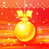 Bright Christmas greeting card with golden ball Royalty Free Stock Images