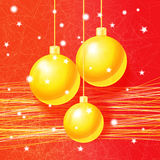 Bright Christmas greeting card with golden balls Stock Photo