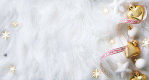 Bright Christmas; Holidays background with Xmas decoration on white stock photography