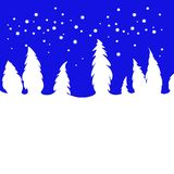 Bright Christmas illustration. White Christmas tree on blue background. Bright Christmas design element with snow fir trees silhouettes on a blue  background Royalty Free Stock Images