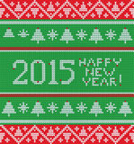 Bright Christmas knitted pattern with trees, Royalty Free Stock Photo