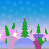 Bright Christmas landscape. Vector illustration of a bright Christmas landscape in a cartoon style tree on multicolodrifts with joyful snowman in the background vector illustration