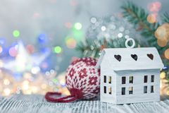 Bright christmas lights defocused background with winter holiday ornaments. Bright christmas lights defocused background with winter holiday decorations royalty free stock image