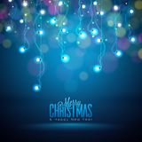 Bright Christmas Lights Illustration on a Dark Transparent Background. EPS 10 Vector Design. Bright Christmas Lights Illustration on a Shiny Blue Background Stock Image