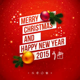 Bright Christmas and New 2015 year card. Bright Christmas and New 2015 year card . Red traditional background with white ribbon and realistic Christmas Vector Illustration