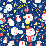Bright Christmas pattern of snowmen Stock Photography