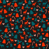 Bright Christmas pattren. Vector seamless pattern with main symbols of Christmas Stock Images