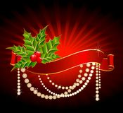 Bright christmas red ribbon Royalty Free Stock Images