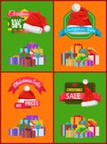 Bright Christmas Sale Cards Vector Illustration. With pretty hats many presents with colorful bows and ribbons isolated on green and orange backgrounds Stock Photo