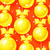 Bright Christmas seamless pattern with golden balls Royalty Free Stock Image
