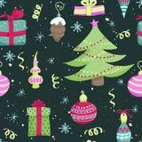 Bright christmas seamless pattern Stock Photos
