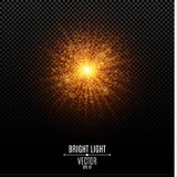 Bright Christmas star. A golden flash of light. Gold dust. Abstract golden lights and rays of light. Glare bokeh Royalty Free Stock Photos