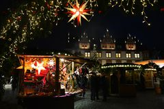 Free Bright Christmas Star In One Of The Gates Of The Coburg Christmas Market. Stock Photos - 136280693