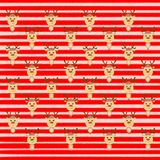 Bright Christmas striped background with deer.  Royalty Free Stock Photography