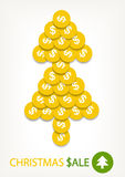 Bright christmas tree of golden coins Royalty Free Stock Image