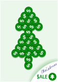 Bright christmas tree of green dollar  coins Royalty Free Stock Photography