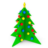 Bright Christmas Tree isolated. Colorful Christmas tree with toys isolated on white background. 3d symbolic New Year's tree Stock Images