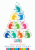 Bright Christmas tree monkeys. New year Card. 2016. Bright Christmas tree monkeys Royalty Free Stock Photos