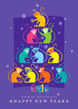 Bright Christmas tree monkeys. Bright New year Card. 2016. Christmas tree monkeys Stock Photography
