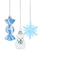 Bright Christmas tree toy blue candy, snowflake, teddy bear Royalty Free Stock Photography