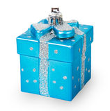 Bright Christmas tree toy blue gift box Stock Photo