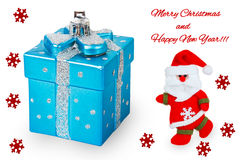 Bright Christmas tree toy blue gift box with Santa Claus, red sn Stock Image