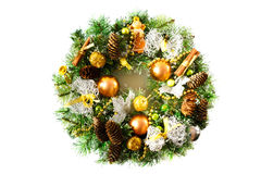 Bright Christmas wreath on white background Royaltyfri Fotografi
