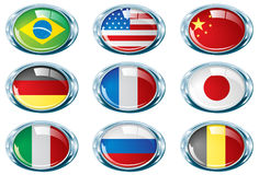Bright chrome oval flag part one Royalty Free Stock Photos