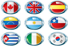 Bright chrome oval flag part two. Bright chrome oval flags. Ideal for cartoons, logos, frames, banners, sport and conventions events, racing, and other. This Stock Photos
