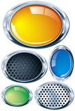 Bright chrome oval in various colors and textures Stock Photos