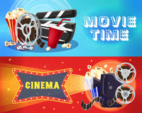 Bright Cinema Horizontal Banners. With film reel popcorn soda tickets clapperboard movie camera filmstrip vector illustration Stock Photo