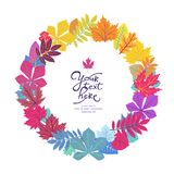 Bright circle frame with leaves and place for your text. ECO autumn Nature wallpaper. BIO design Stock Photo