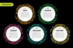 Bright Circle infographic with header on black bacdrop. Yellow, royalty free illustration