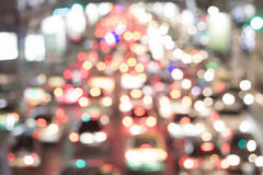 Bright circles from car`s headlights on defocuse Royalty Free Stock Images
