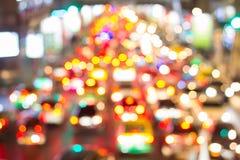 Bright circles from car`s headlights on defocuse Stock Photos