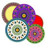 Bright circles decorated simple shapes. Vector Royalty Free Stock Images