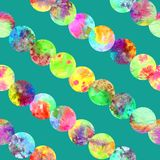 Bright circles lines abstract grunge colorful splashes texture watercolor seamless pattern design in yellow, green, pink. Colors palette on dark turquoise Royalty Free Stock Photo