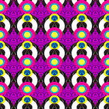 Bright circles on a purple background abstract geometric seamless pattern Stock Image