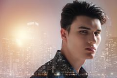 Good looking teenager in urban surrounding Royalty Free Stock Images
