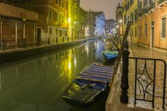 Night channel in Venice stock photos