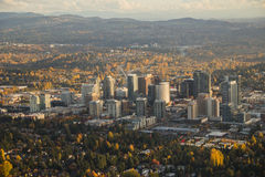 Bright City at Sunset on Calm, Clear Day. Aerial view of downtown Bellevue, WA in autumn Stock Photo