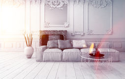 Bright classical living room interior Royalty Free Stock Images