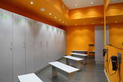 Bright and clean european dressin room. Luxury and very clean dressing room in european style stock photo