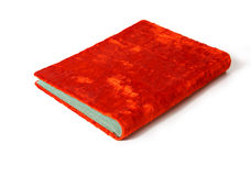 Bright open red velvet hardcover book  on white background. Bright closed red book (vintage photo album) with green pages isolated on white background Royalty Free Stock Photo