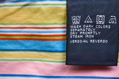 Bright closeup clothes label royalty free stock photography
