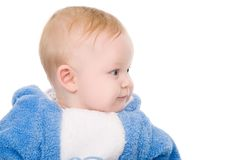 Bright closeup picture of blue-eyed baby boy Royalty Free Stock Photography
